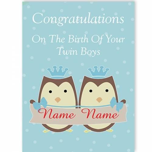 Owls Birth Of Your Boy/boy Twins Congratulations Card