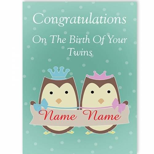 Owls Birth Of Your Boy/Girl Twins Congratulations Card