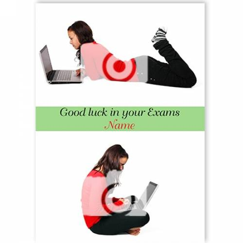 Girl On Laptop Exams Good Luck Card