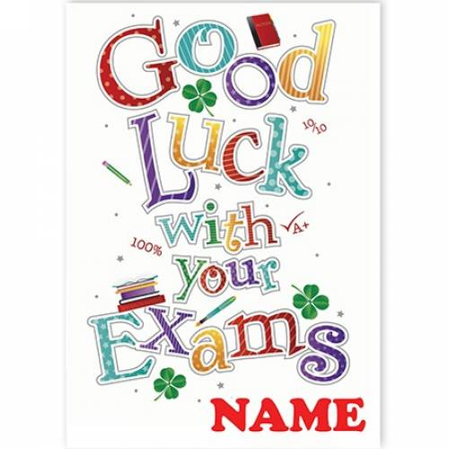 Coloured Letters Exams Good Luck Card