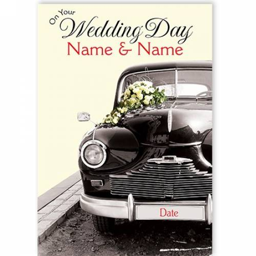 On Your Wedding Day Vintage Car (add Date) Card