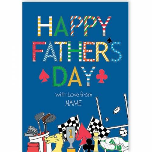 Blue Happy Father's Day Card