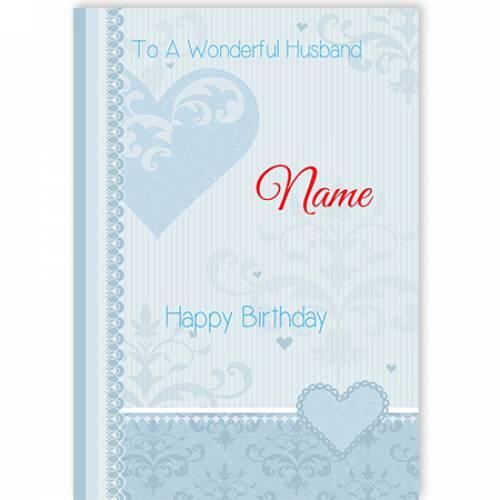 To A Wonderful Husband Blue Heart Happy Birthday Card