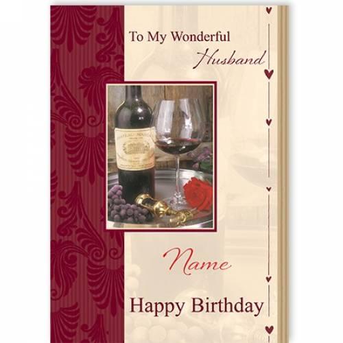 To My Wonderful Husband Wine Glass Birthday Card Card