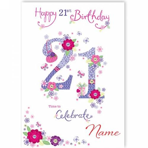 Button Flowers 21st Birthday Card