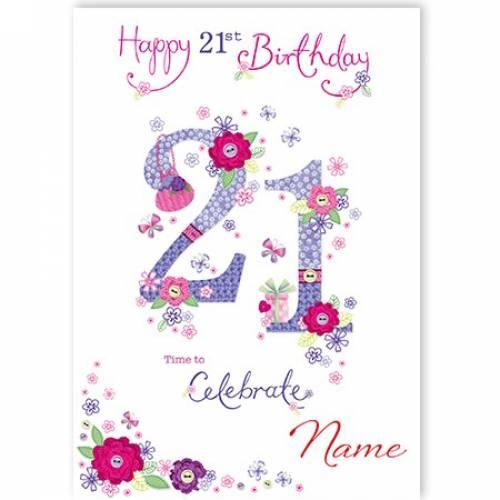 Button Flowers 21st Birthday Card