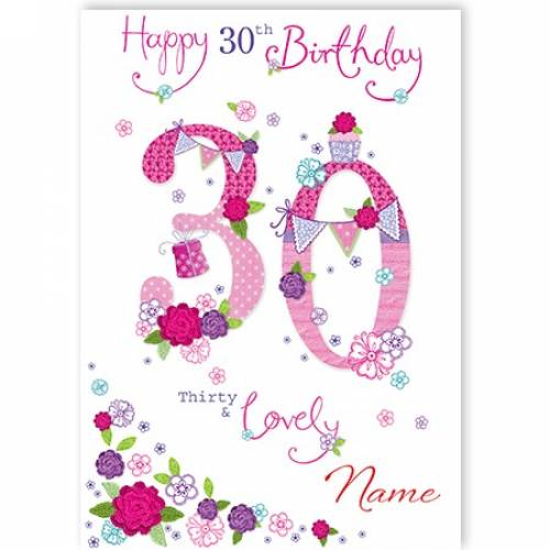 Button Flowers 30th Birthday Card