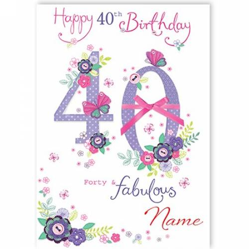 Button Flowers 40th Birthday Card