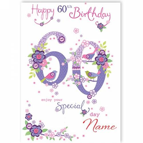 Button Flowers 60th Birthday Card