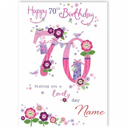 Button Flowers 70th Birthday Card