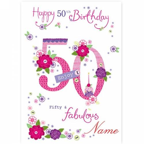 Button Flowers 50th Birthday Card