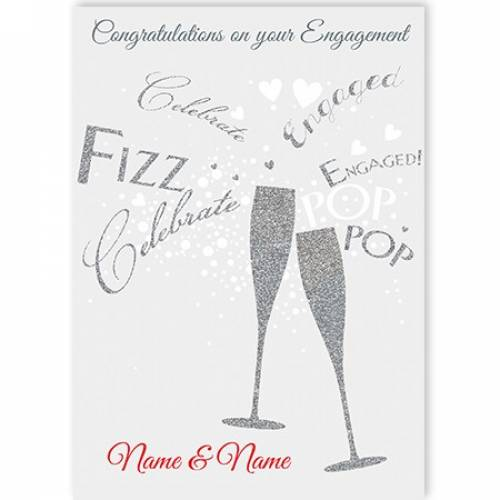 Engagement Champagne Fizz Pop Celebrate Card