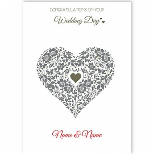 Wedding Day Silver Heart And Flowers Card