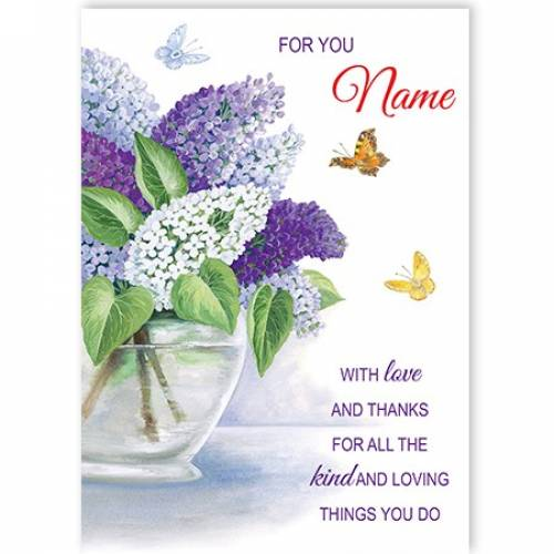 Flowers And Butterflys Thank You Card