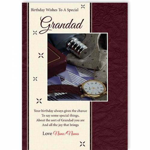 Birthday Wishes To A Special Grandad Watch Card