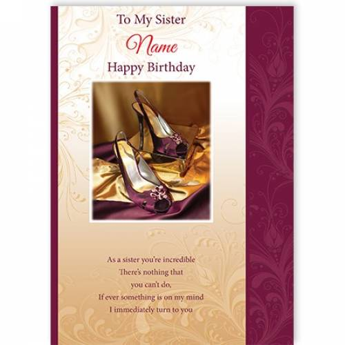 To My Sister Purple Shoes Card