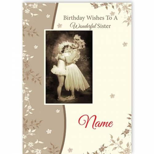 Birthday Wishes To A Wonderful Sister Girls Hugging Card