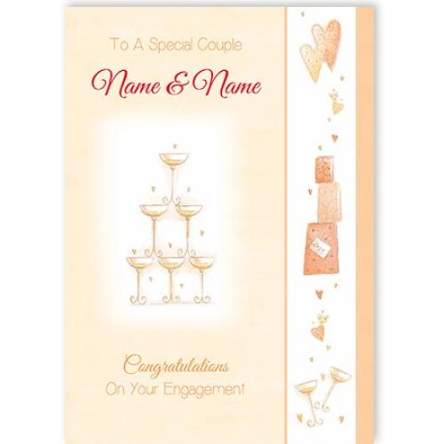 To A Special Couple Champagne Glasses Card