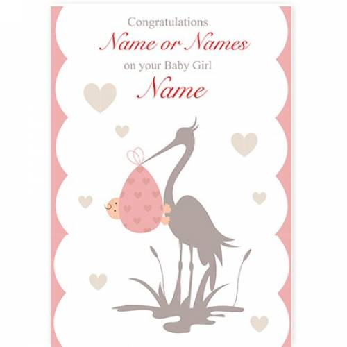 Congratulations Stork Baby Girl Card