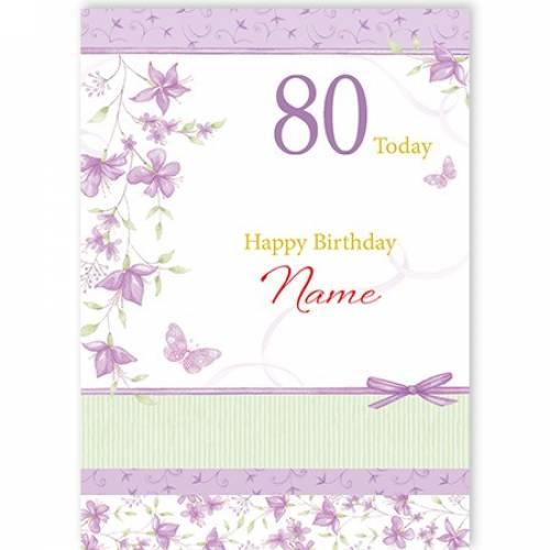80th Female Purple Flowers Birthday Card