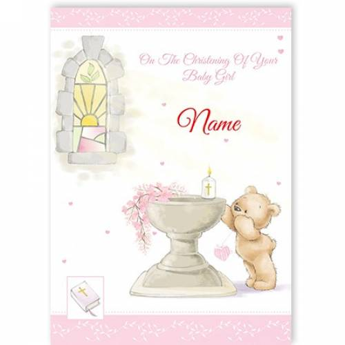 Bear With Chalice Girl Christening Card