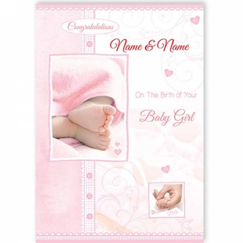 Congratulations Tiny Toes On The Birth Of Your Baby Girl Card