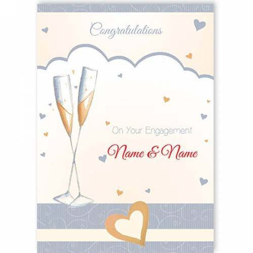 Congratulations On Your Engagement Illustration Flutes Card