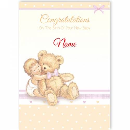 New Baby Congratulations Baby And Teddy Card