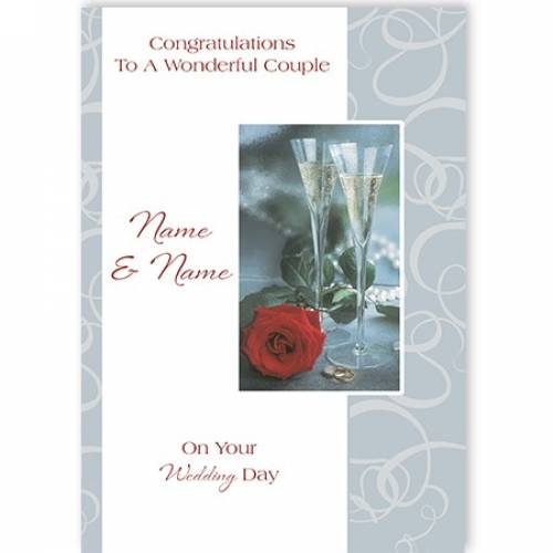 Congratulations To A Wonderful Couple Flutes On Your Wedding Day Card