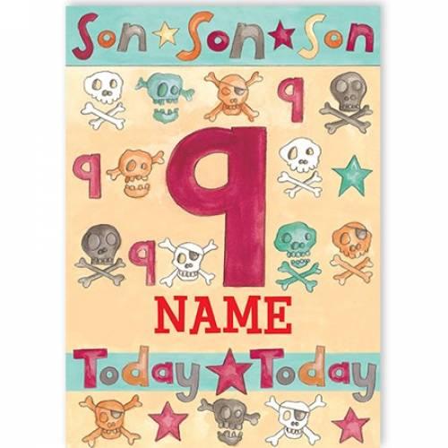 Son Son Son Skull And Bones Birthday Card