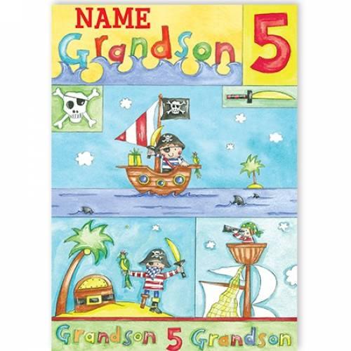 Pirate Grandson Age Birthday Card