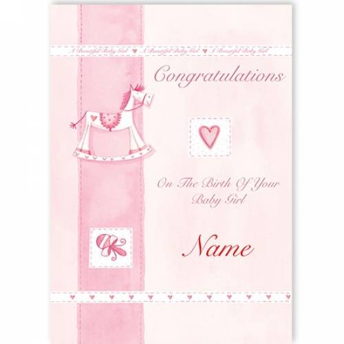 Congratulations Baby Girl Rocking Horse Card