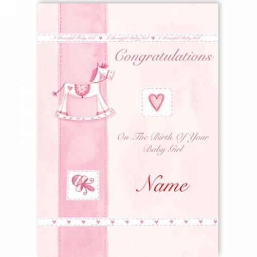 Congratulations Baby Girl Rocking Horse Card
