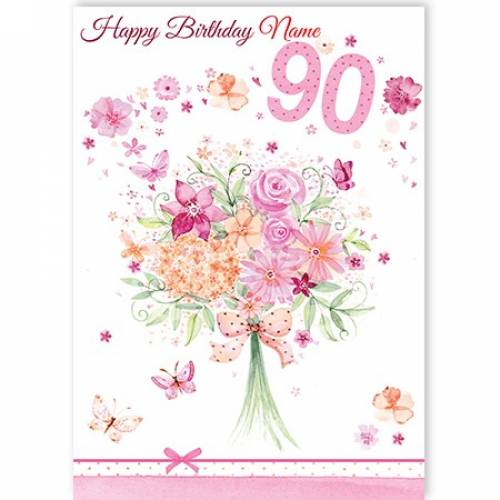 Bouquet Of Flowers 90th Birthday Card