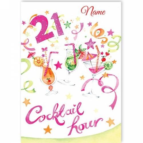 Cocktail 21st Birthday Card