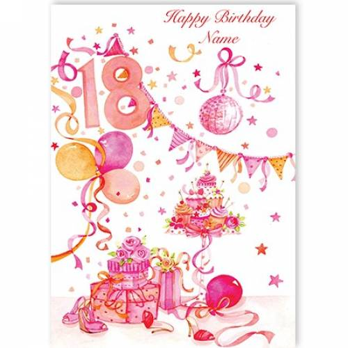 Cake And Banners Birthday Card