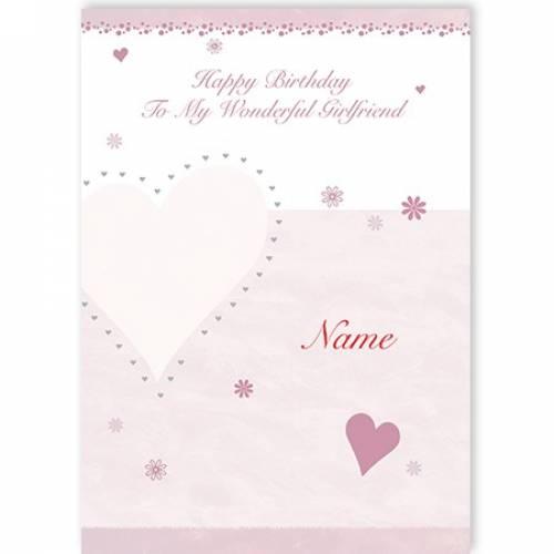 Happy Birthday To My Wonderful Girlfriend Pink Heart Name Card