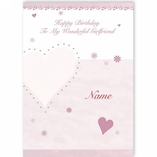 Happy Birthday To My Wonderful Girlfriend Pink Heart Name Card