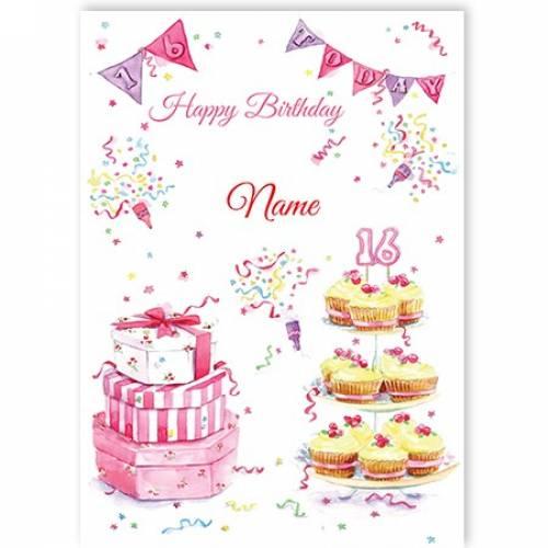 Happy Birthday Pink Cupcakes Birthday Card