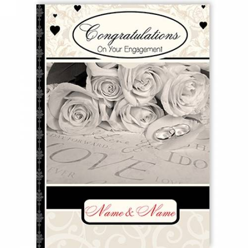 Blabk And White Roses Congratulations On Your Engagement Card