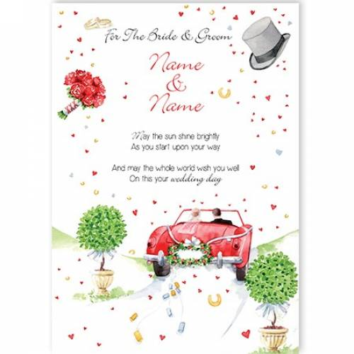 To The Bride And Groom Red Car Wedding Card