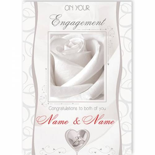 Engagement White Rose To You Both Card