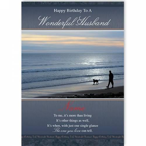 Happy Birthday To A Wonderful Husband Beach Card