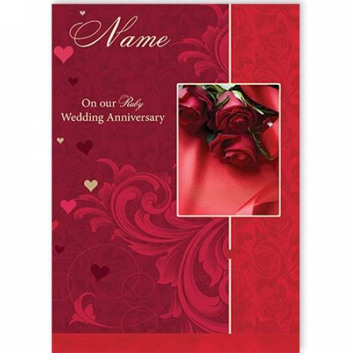 Ruby Wedding Anniversary Rose Card