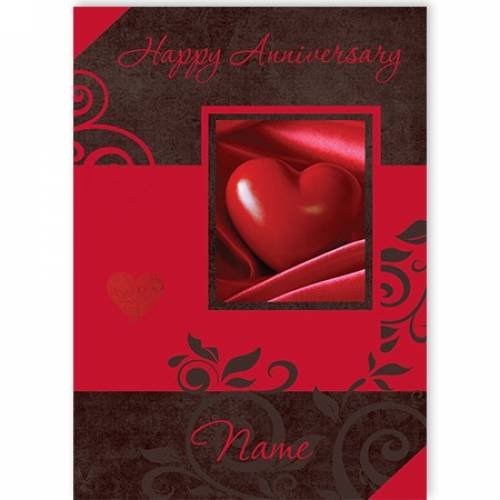 Red Heart Happy Birthday Name Card
