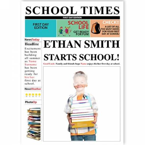 School Times Newspaper Child Starts School Card