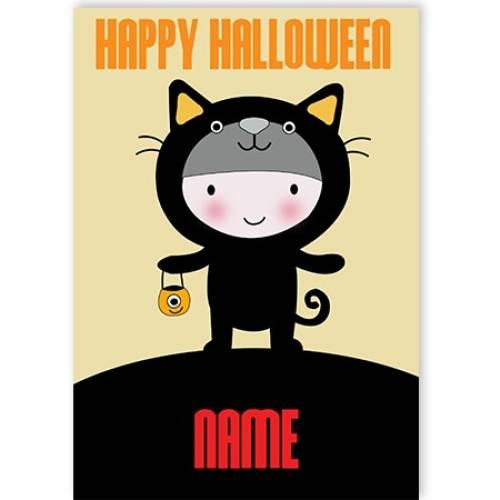 Cat Costume Happy Halloween Card