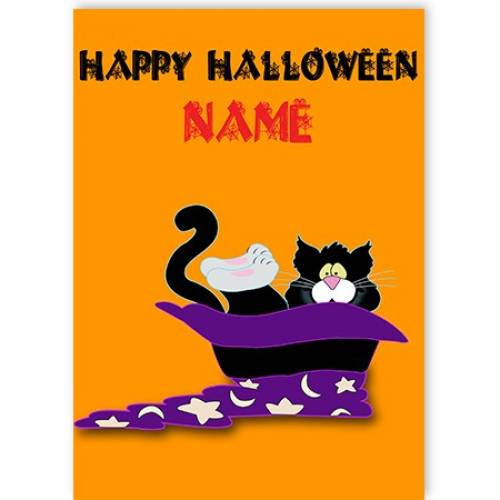 Happy Halloween Cat In A Hat Card