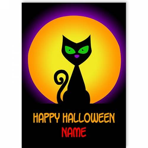 Happy Halloween Cat In The Moon Card