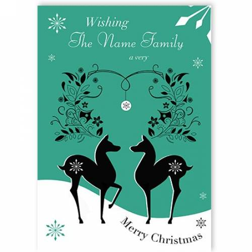 Reindeer Wishing You Family A Very Merry Christmas Card